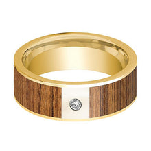 Mens Wedding Band Polished 14k Yellow Gold Wedding Ring with Teak Wood Inlay & Diamond - 8mm - AydinsJewelry