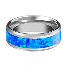 BENJAMIN Tungsten Blue Green Opal Inlay Wedding Band - AydinsJewelry