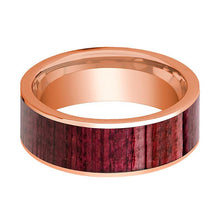 Mens Wedding Band Polished Flat 14k Rose Gold Wedding Ring with Purpleheart Wood Inlay - 8mm - AydinsJewelry