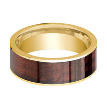 Mens Wedding Band Polished 14k Yellow Gold Flat Wedding Ring with Red Wood Inlay  - 8mm - AydinsJewelry
