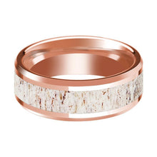 14K Rose Gold Wedding Ring with White Deer Antler Inlay Beveled Edge and Polished - AydinsJewelry