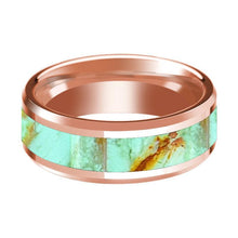 14K Rose Gold Wedding Band Inlaid with Turquoise Stone Beveled Edge Polished Ring - AydinsJewelry