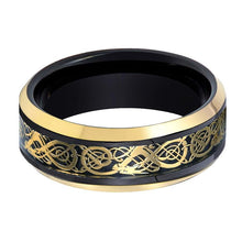 Black Tungsten Polished w/ Gold Celtic Design Cutout Inlay - AydinsJewelry