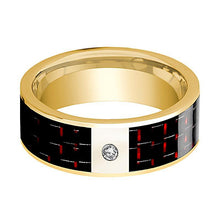 Mens Wedding Band 14K Yellow Gold and Diamond with Black & Red Carbon Fiber Inlay Flat Polished Design - AydinsJewelry
