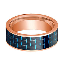 Mens Wedding Band 14K Rose Gold with Black & Blue Carbon Fiber Inlay Flat Polished Design - AydinsJewelry