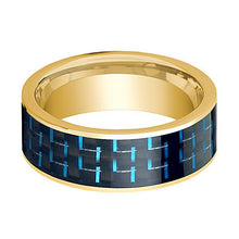 Mens Wedding Band 14K Yellow Gold with Black & Blue Carbon Fiber Inlay Flat Polished Design - AydinsJewelry