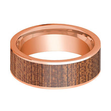 Mens Wedding Band Polished Flat 14k Rose Gold Wedding Ring with Sapele Wood Inlay - 8mm - AydinsJewelry