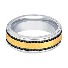 Aydins Tungsten Wedding Band Gold Hammered Center w/ Two Black Stripes 8mm Tungsten Carbide Ring - AydinsJewelry