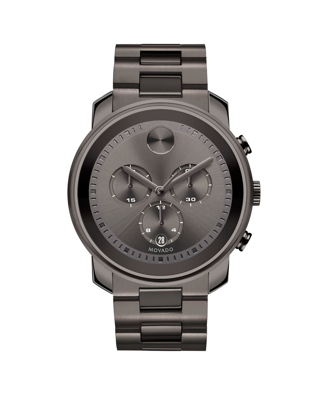 Movado Bold Stainless Steel Gunmetal Grey tone 3600277 44mm