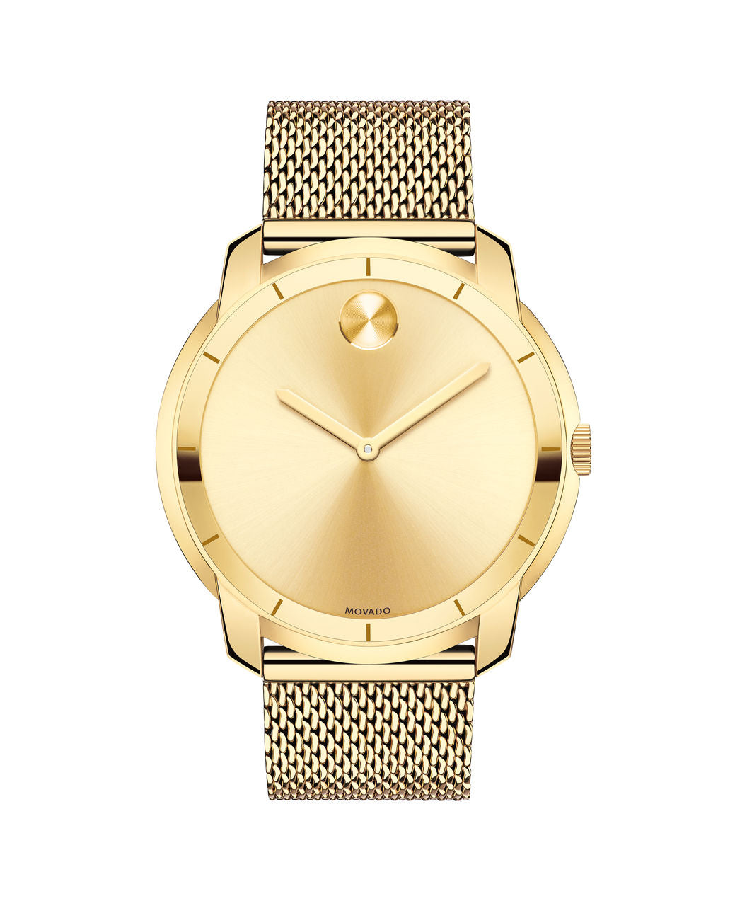 Movado Bold Stainless Steel Mesh Band Gold Tone 3600373 44mm