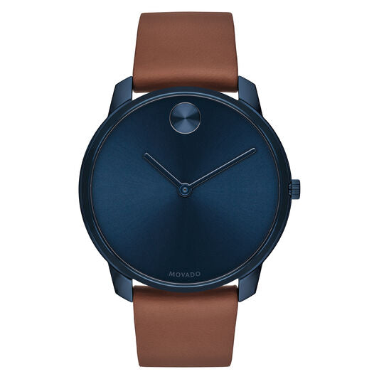 Movado Bold 42mm Mens Blue Ion-Plated Steel Case With Leather Strap 3600585