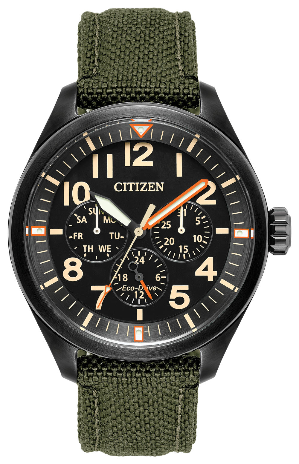 Citizen Eco Drive Chandler Black on Green Cordura strap BU2055-16e