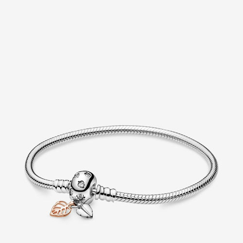 Pandora Moments Leaves Clasp Snake Chain Bracelet