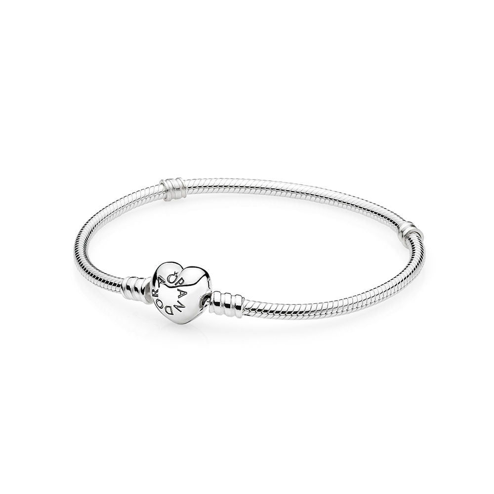 PANDORA Silver Charm Bracelet with Heart Clasp