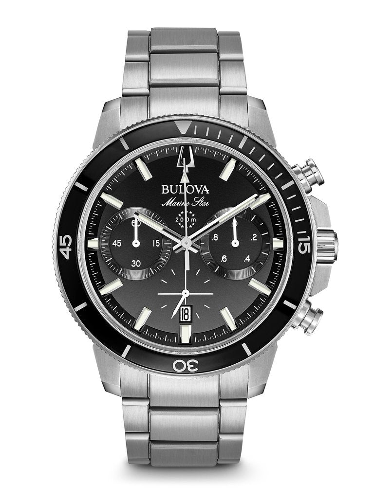 Bulova Mens Black Dial Marine Star with black bezel 96B272