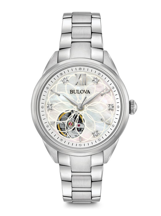 Bulova Ladies stainless Diamond automatic Mother of pearl watch 96P181