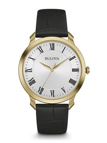 Mens Gold Tone White dial with black Roman Numerals