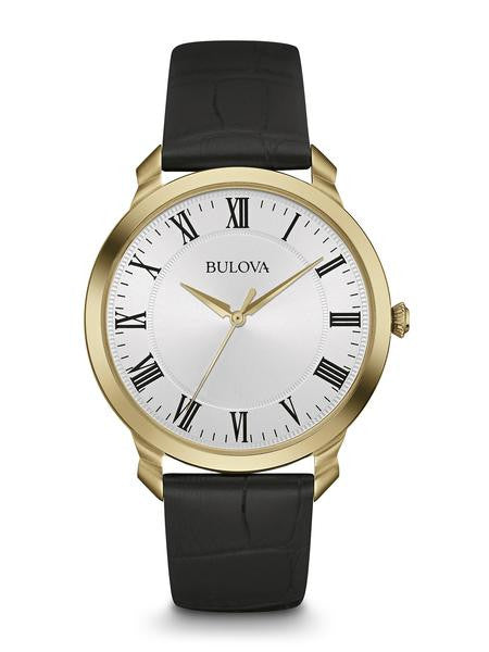 Bulova Mens Gold Tone White dial with black Roman Numerals 97a123