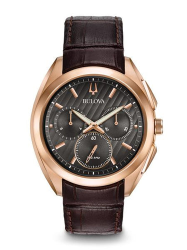 Bulova Curv Rose tone with brown leather strap