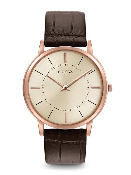 Bulova Ultra Slim Rose Tone  Grey dial 97a126