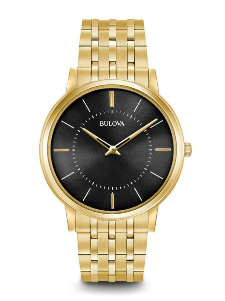 Bulova Classic Stainless steel With Gold Tone Black Dial 97a127
