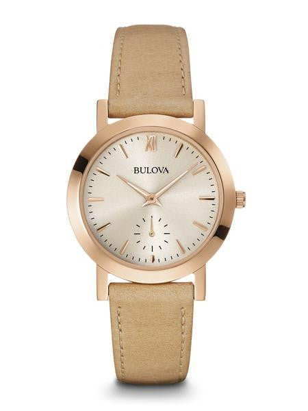 Bulova Ladies Rose tone watch with sand Leather strap 97l146