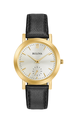 Bulova Black Leather Gold tone Classic Ladies watch 97l159