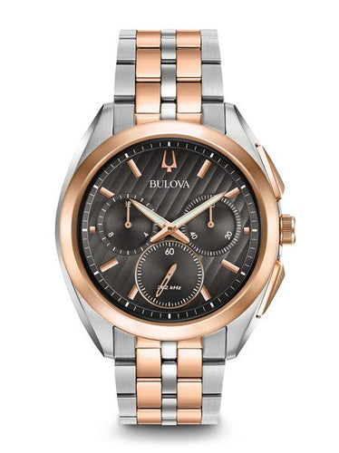 Bulova Curv rose gold two tone choclate