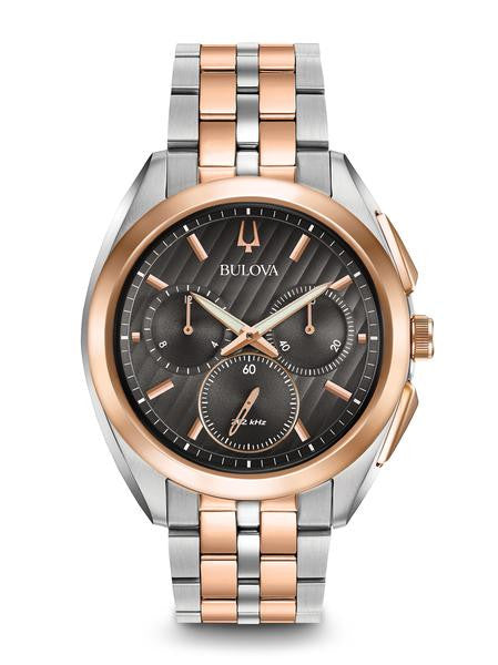 Bulova Curv rose gold two tone choclate 98a160