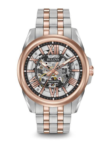 Bulova Stainless Steel with Rose Accent Automatic 98a166