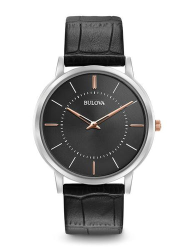 Bulova Classic Stainless steel and leather with Black Dial