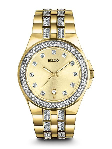 Bulova Gold plated Swarovski Crystal watch 98b174