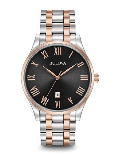 Bulova Classic Stainless steel with Rose tone & Roman Numerals