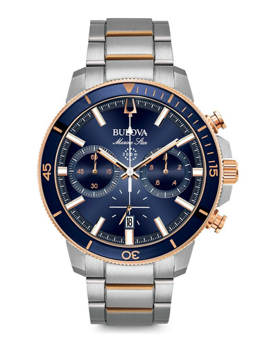 Bulova Mens Blue Dial Marine Star with rose tone accent 98B301