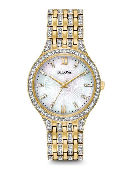 Ladies' Bulova Crystal Mother-of-Pearl Dial Gold-Tone Watch 98L234