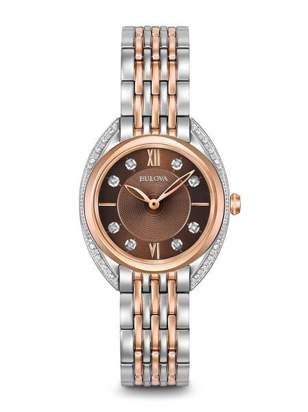 Bulova Ladies Rose tone stainless Diamond Chocolate watch 98R230