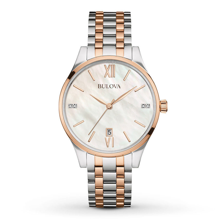 Bulova Women's Diamond Accent Two-Tone Stainless Steel Bracelet Watch 36mm 98P15