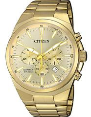 Citizen Men's Stainless Gold Tone Steel Chronograph Watch - AN8172-53P