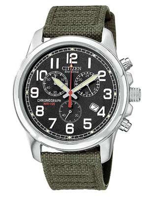 Citizen Eco Drive Chrono Black Face Olive Canvas strap AT0200-05E