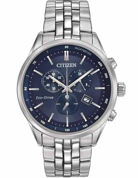 Citizen Eco Drive Chrono Dress watch Blue Dial AT2141-52L