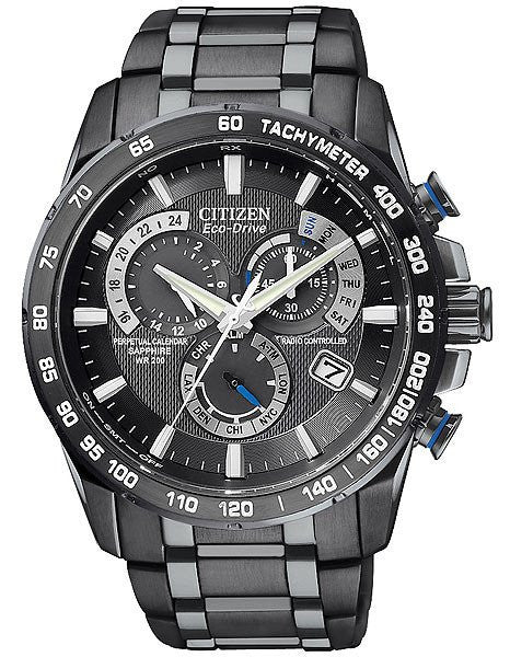 Citizen Mens Perpetual Chrono AT4007-54E 5 time zone Atomic black