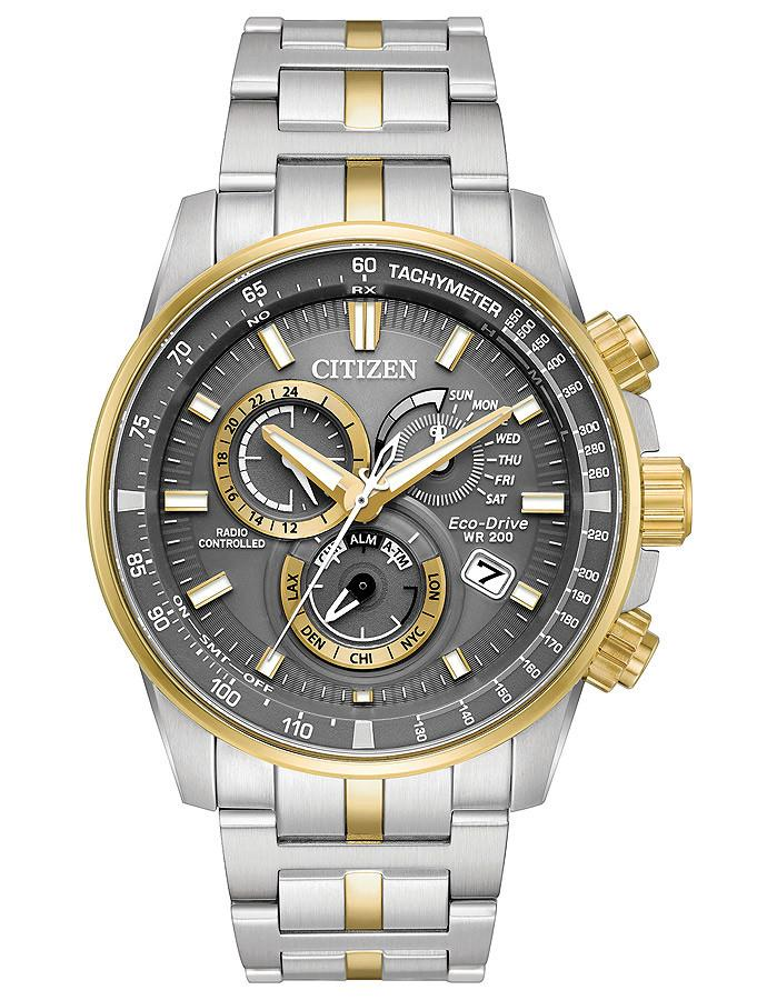 Citizen Eco-Drive watch PCAT Perpetual chrono AT two tone gray dial AT4124-51H