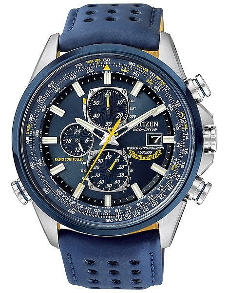 Citizen Blue Angels Eco Drive world chrono AT blue strap AT8020-03L Radio Controlled
