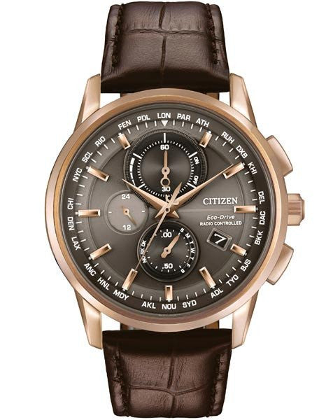 Citizen Eco Drive World Chronograph AT Rose Leather AT8113-04H