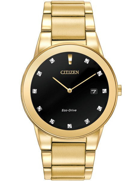 Citizen AU1062-56G Eco-drive Axiom Black dial gold tone with diamond dial