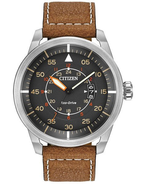 Citizen Avion AW1361-10H black Dial stainless steel leather strap