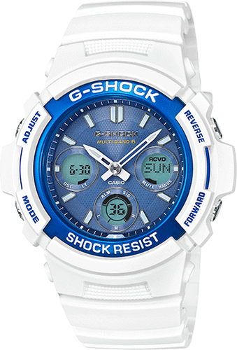 Gshock all white with hint of blue AWGM100SWB-7A