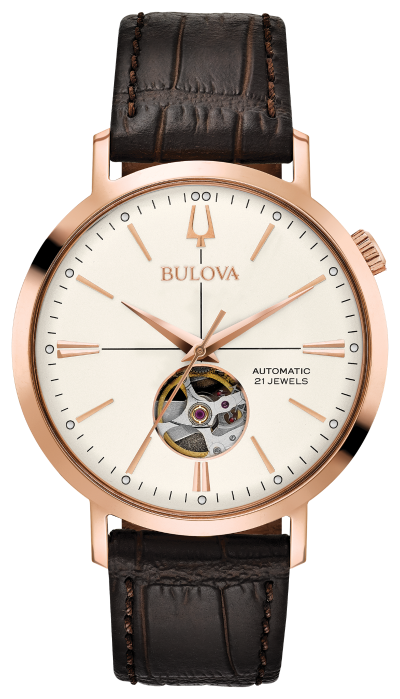 Bulova Aerojet Men's Classic Leather Automatic Skeleton Watch - 97A136