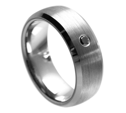 8mm Tungsten Carbide Beveled edge with black crystal