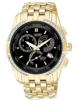 Citizen Eco Drive Diamonds Perpetual Calendar Gold Tone Stainess Steel BL8042-54